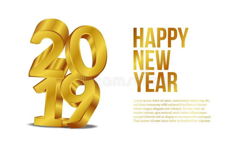 Happy new year banner background template with 3d gold number. vector illustration stock illustration