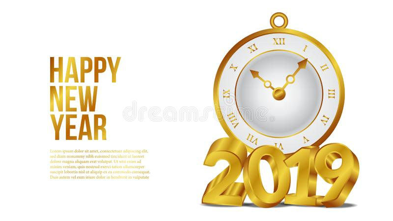 Happy new year banner background template with 3d gold text and classic gold clock. vector illustration royalty free illustration