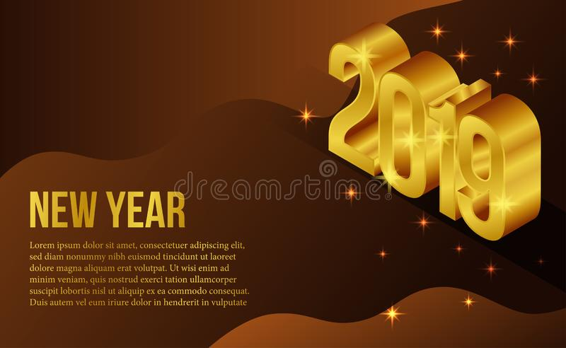 Happy new year banner background template with 3d isometric gold silver number. vector illustration vector illustration