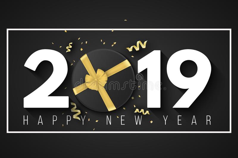 Happy New Year 2019 banner. Black gift box with a gold ribbon and a bow in a frame on a black background. Golden confetti with ser royalty free illustration