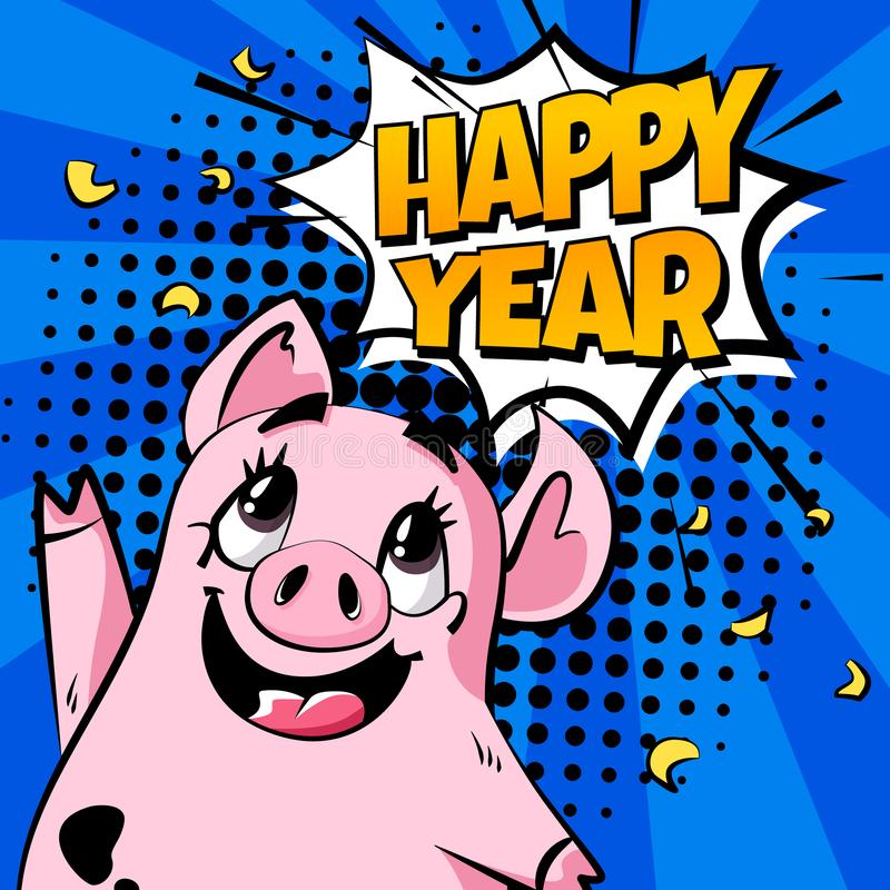 Happy New Year banner with cartoon pig and text cloud on blue background. Greeting card in comics style vector illustration