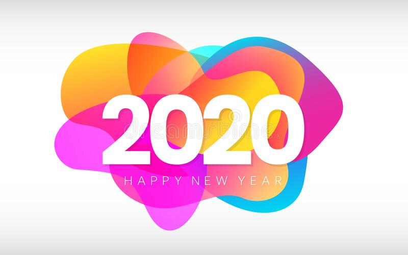 Happy New Year 2020 banner. Creative card with colorful shapes on white background. Merry Christmas color design with. Gradient elements. Holiday poster. Vector vector illustration