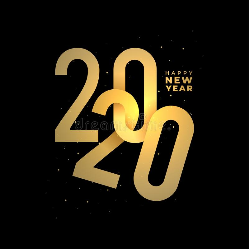 Happy new 2020 year banner. Elegant gold text with light. Minimalistic 3d template on black background stock illustration