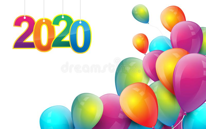 Happy new year 2020 banner. Flying colorful balloons party decoration vector illustration