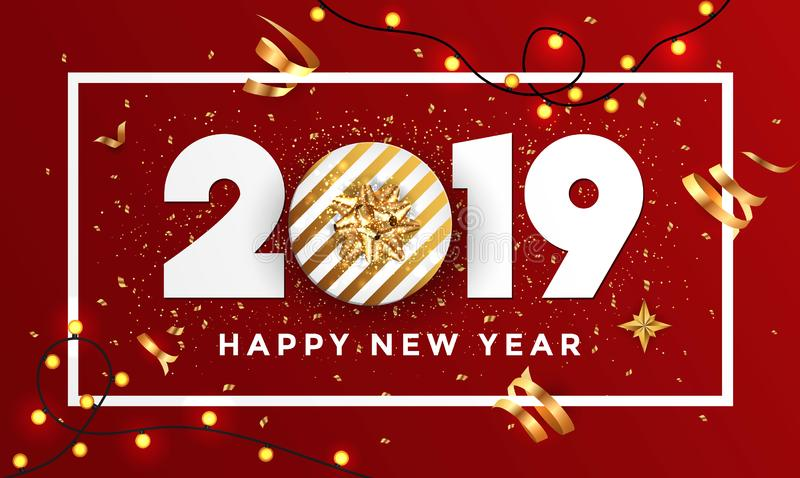 Happy new year 2019 - Banner with frame 3 stock illustration