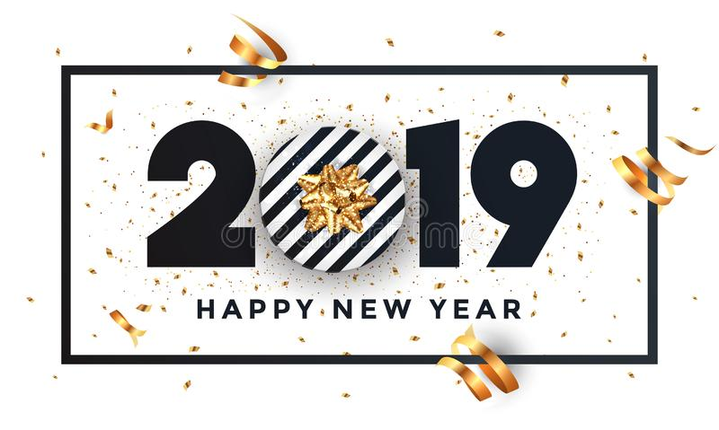 Happy new year 2019 - Banner with frame vector illustration