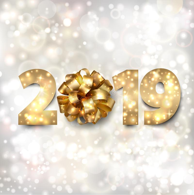 Happy New Year banner with gold numbers 2019 and a bow on a silver background with stars and twinkly lights stock photography