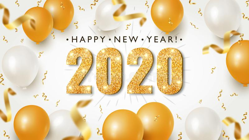 Happy New Year Banner with Gold 2020 Numbers on Bright Background with Flying Confetti and Air Balloons stock illustration