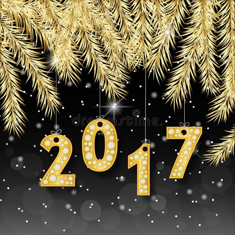 Happy New Year 2017 banner with golden fir-tree branches. Rich, VIP, luxury Gold and black colors. Vector illustration stock illustration