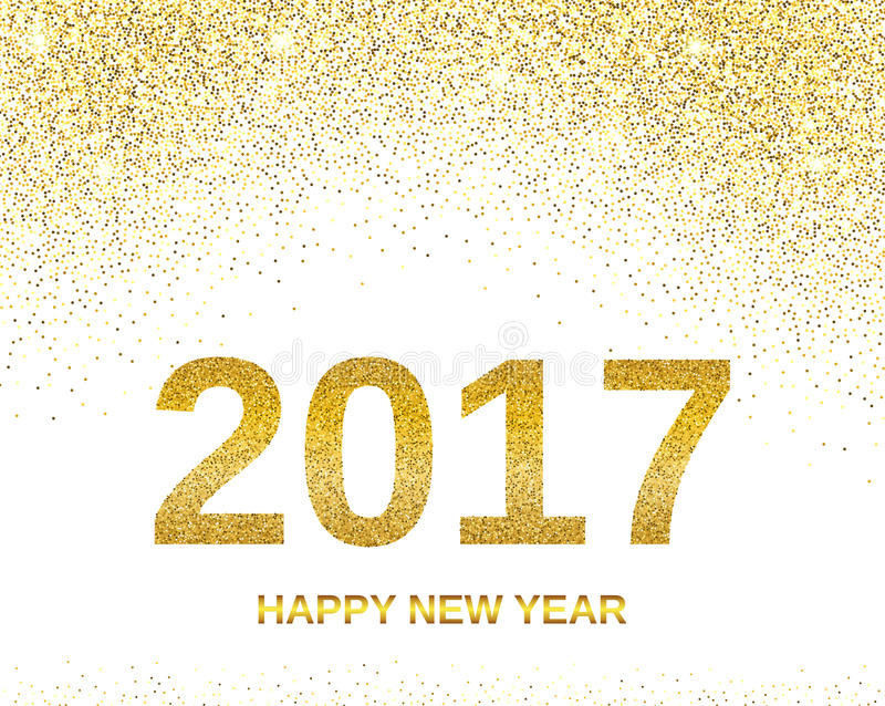 Happy New Year 2017 Banner Or Background With Gold Bokeh Effect