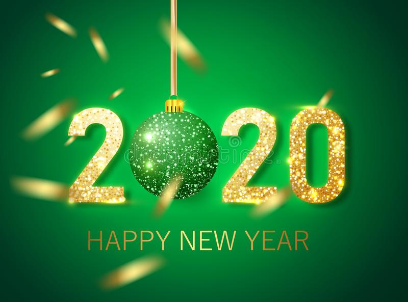 Happy new year 2020 banner.Golden green Vector luxury text 2020 Happy new year. Gold Festive Numbers Design. vector illustration