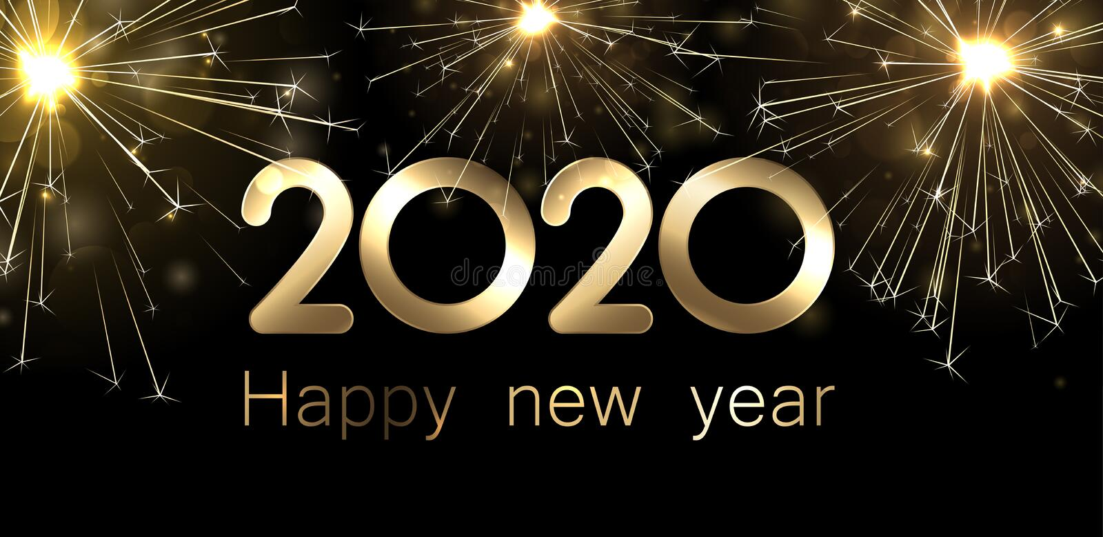 Happy New Year 2020 banner with golden sparkling firework. Vector background vector illustration