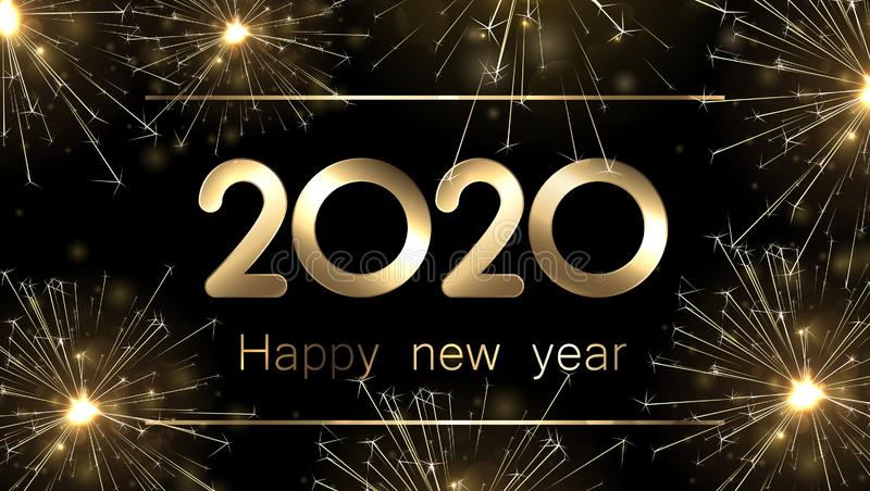 Happy New Year 2020 banner with golden sparkling firework. Vector illustration royalty free illustration