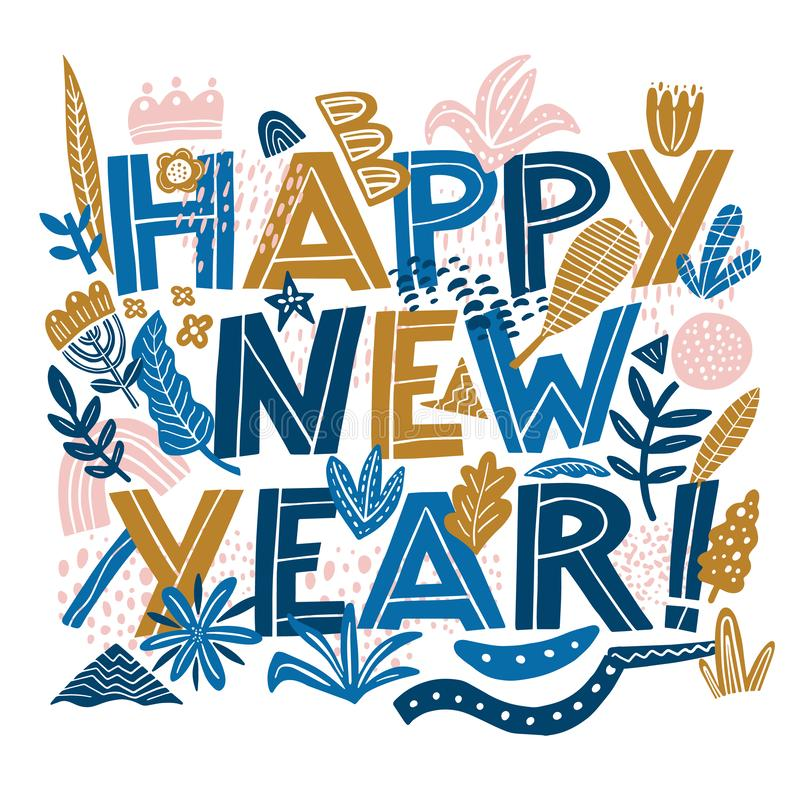 Happy new year banner in Hand Drawning typography card in the Collage style pattern with abstract and organic shapes in royalty free stock image