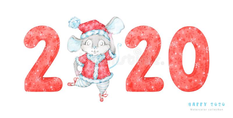 2020 Happy New Year banner with hand painted red patterned numbers and cute dancing mouse, rat in a red costume illustration on wh stock illustration