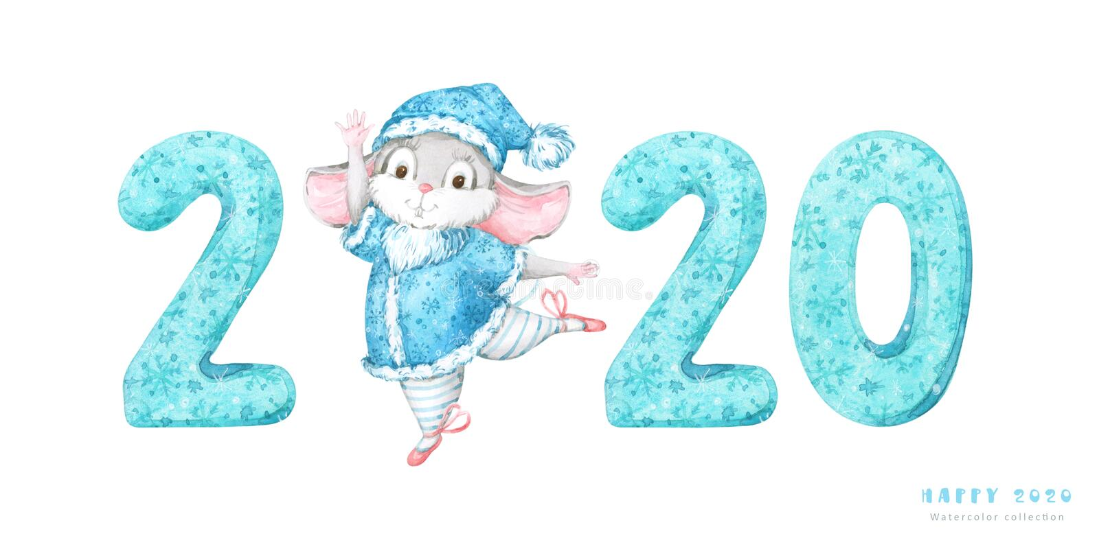2020 Happy New Year banner with hand painted turquoise patterned numbers and cute dancing mouse, rat illustration on white backgro vector illustration