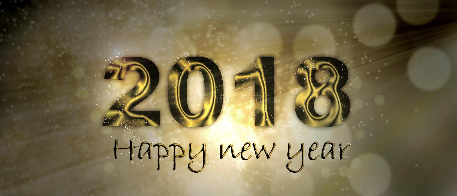 Happy new year 2018. Banner Happy new year 2018 on blur lights stock photos