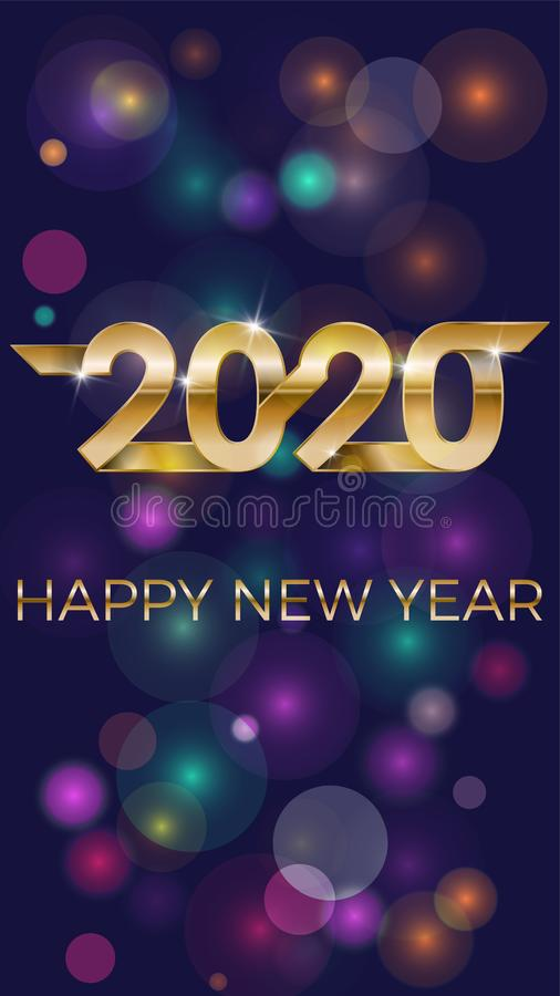 2020 Happy New Year. Banner invitation, party poster glittering stars confetti glitter decoration. Winter holiday stock photos