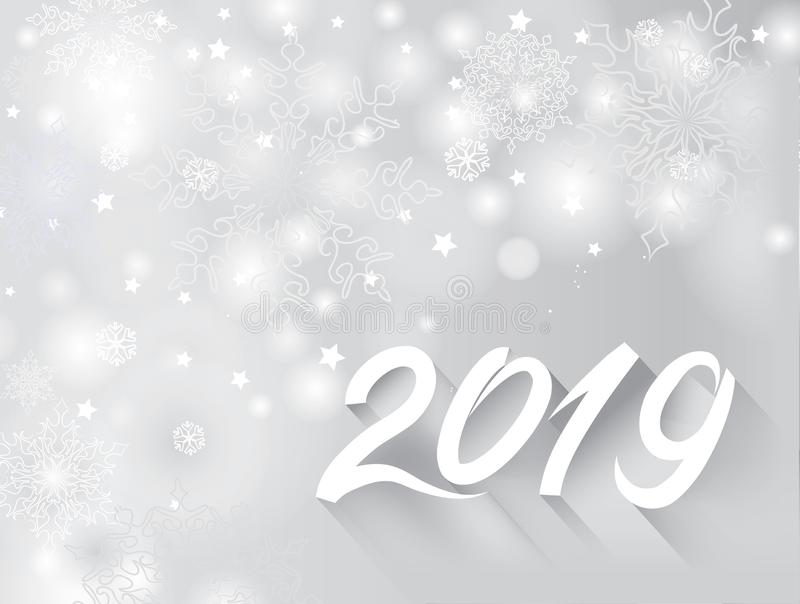 Happy New Year 2019 banner over snow blurry winter holiday backg royalty free illustration