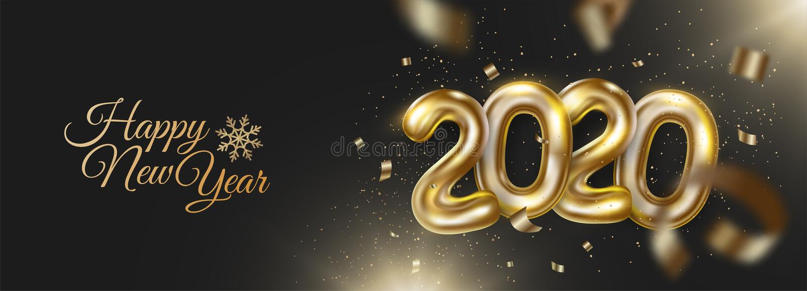 Happy new 2020 year banner with realistic golden numbers and confetti, tinsel. Festive decoration on dark background. royalty free stock images