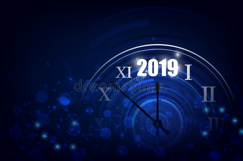 2019 Happy New Year banner with round clock. Vector illustration stock illustration