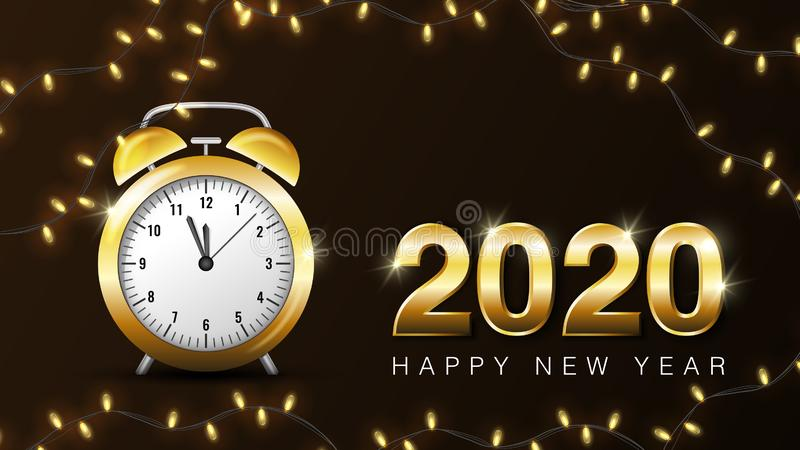 Happy new year 2020 banner. 2020 Happy New Year Shining background with gold clock. Vector illustration template royalty free illustration