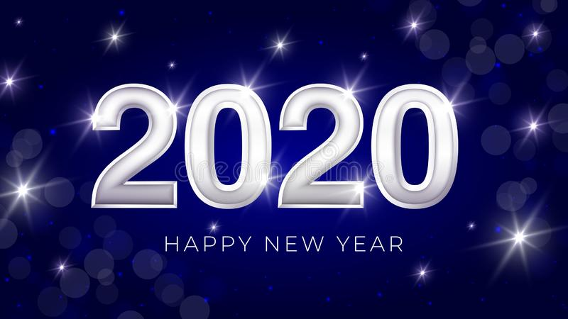 Happy New Year Banner with Silver 2020 Numbers on Bright Background with Flying Confetti and Streamers. Vector royalty free illustration