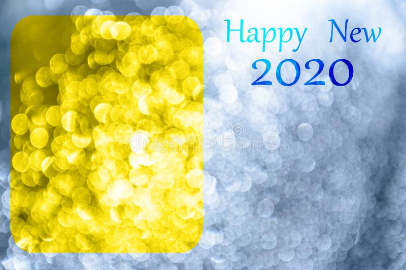 `Happy New Year 2020` banner with soft colors and graphic elements. Glowing backdrop. Space for text royalty free stock photography