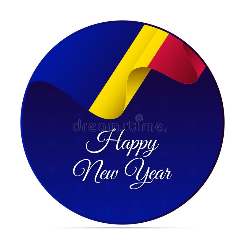 Happy New Year banner or sticker. Andorra waving flag. Snowflakes background. Vector illustration. Happy New Year banner or sticker. Andorra waving flag royalty free illustration