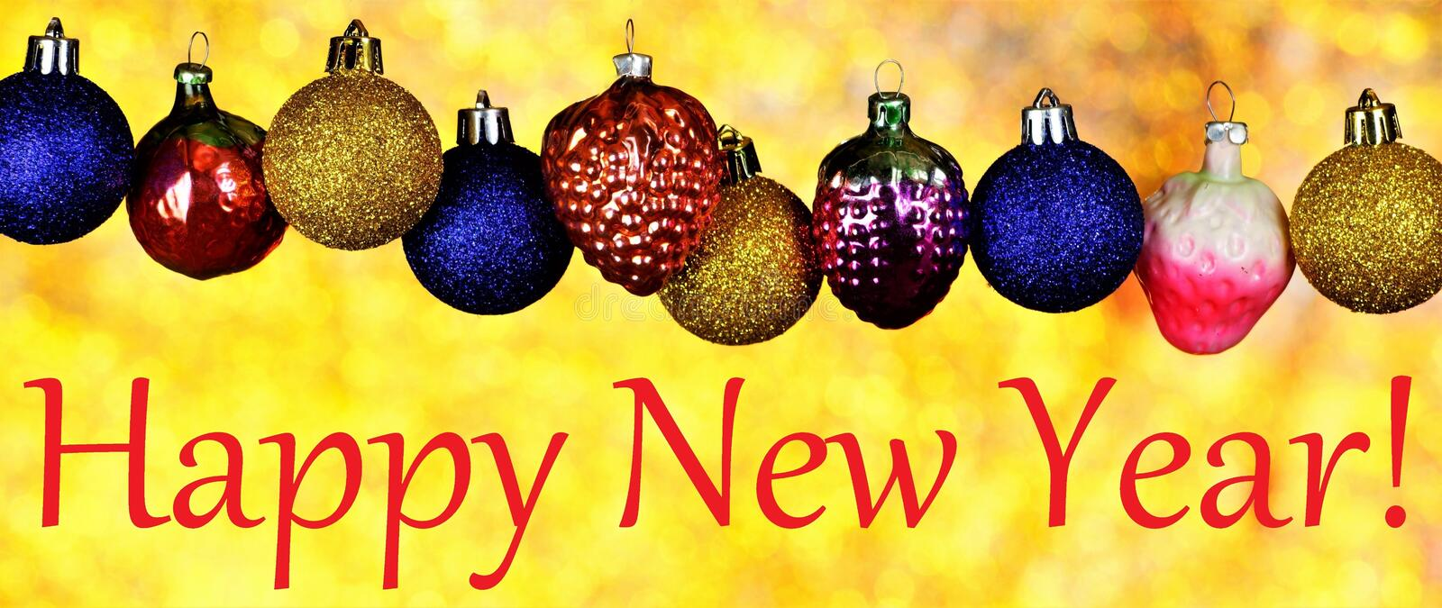 Happy New year, banner of toys and bright bokeh lights holiday background. Decoration for creative design of new year and stock photography
