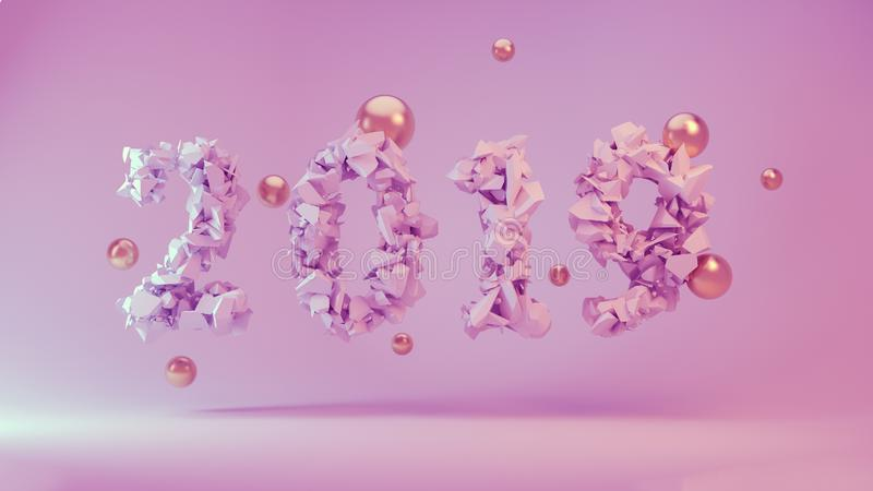 Happy New Year Banner with 2019 trendy pink color Numbers made by shattered cracked stone on study Background with royalty free stock images
