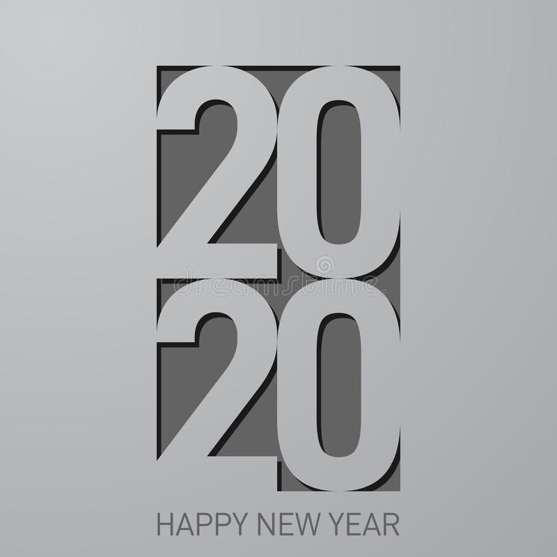 2020 Happy new year banner, vector minimalist illustration royalty free stock image