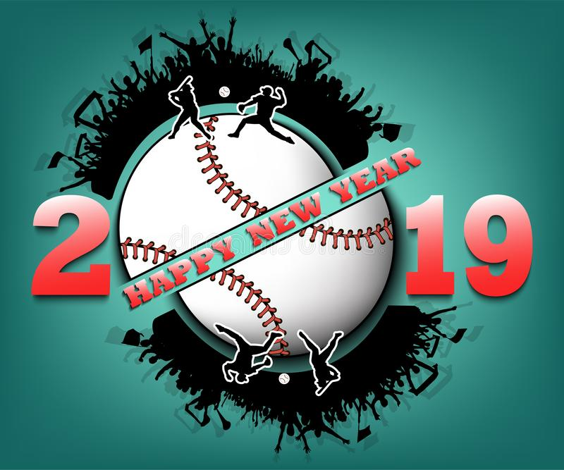 Happy new year 2019 and baseball ball vector illustration