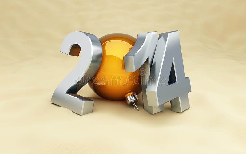 Download Happy New Year 2014 On The Beach Stock Illustration - Image: 33104825