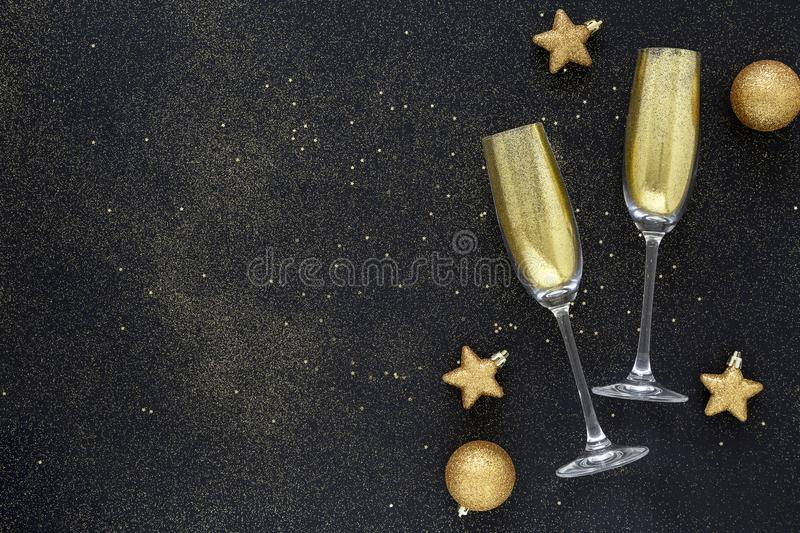 Happy New Year 2020. Beautiful Glowing overlay for holiday greeting card. Flat lay composition. stock image