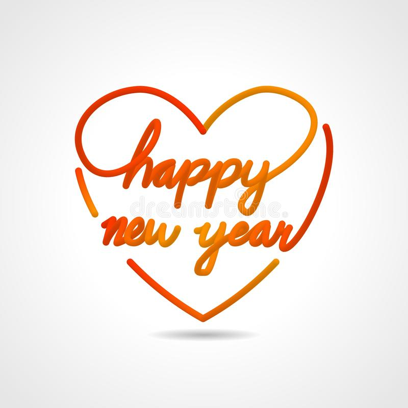 Happy new year, beautiful realistic lettering greeting card vector design in love shape. stock illustration
