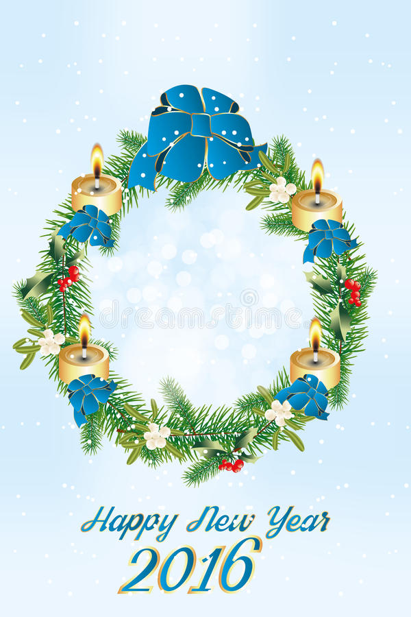 Happy New Year 2016. Beautiful wreath for Christmas with mistletoe, holly, burning candles and blue ribbons and text Happy New Year 2016 - jpg and eps file vector illustration