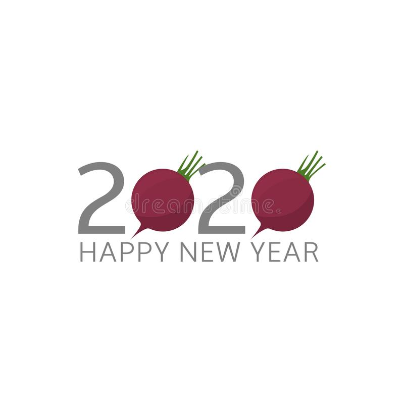 2020 Happy New Year beetroot icon stock illustration