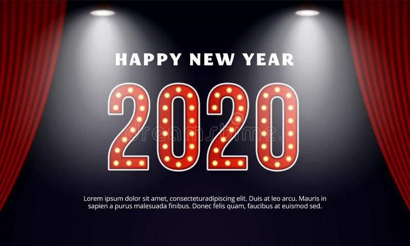 Happy new year 2020 billboard typography text celebration poster design. Red curtain theater stage background with spotlight. Effect vector illustration. eps 10 vector illustration