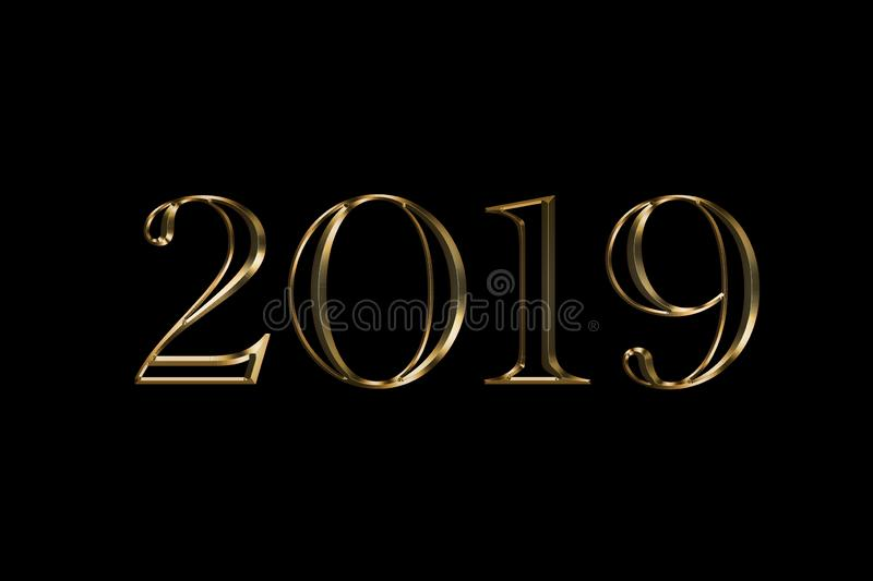 2019 Happy New Year black Background. Gold text design. Dark greeting illustration with golden numbers . Best Gold text royalty free stock image