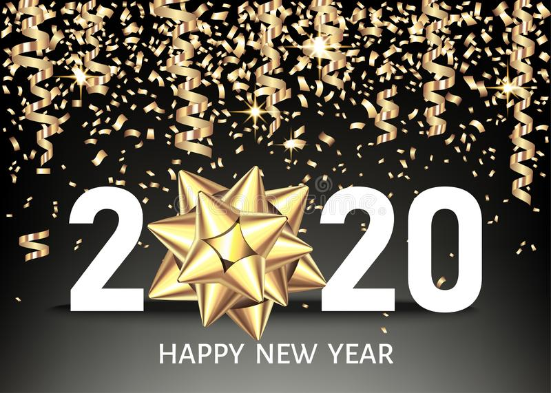 2020 happy New Year black background with golden confetti, bow vector illustration