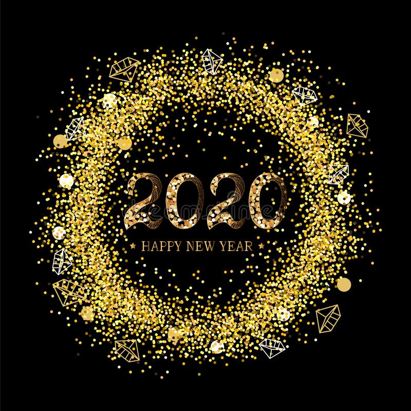 2020 Happy New Year on black background with golden confetti vector illustration