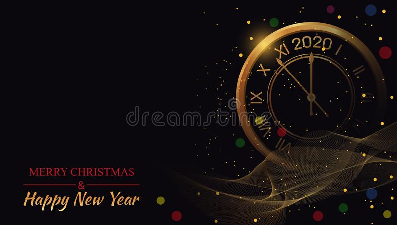 Happy New Year 2020 on black backgrounds glow with golden clock. Beautiful Christmas template. Winter celebration poster. Bright. Xmas banner. Vector vector illustration