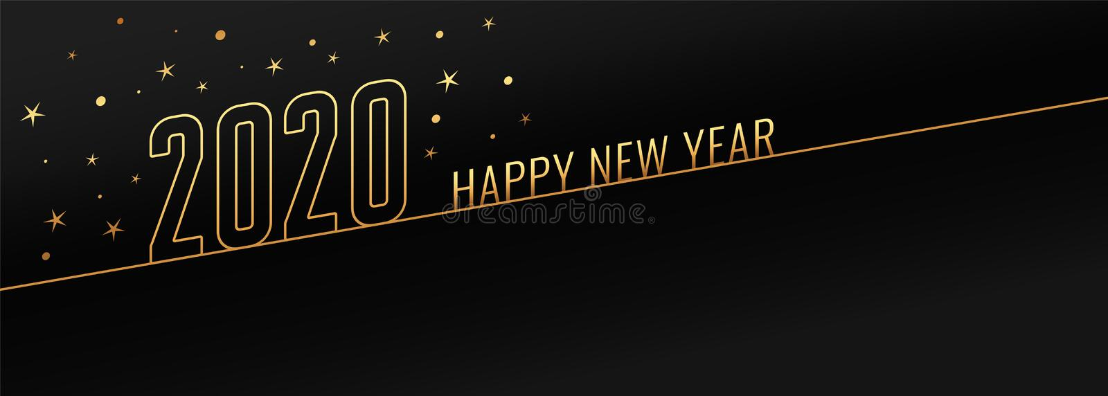 Happy new year 2020 black and gold banner design stock illustration