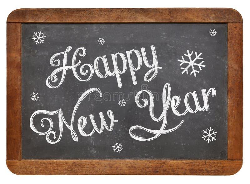Happy New Year on blackboard. Happy New Year - white chalk text on a vintage slate blackboard stock photos