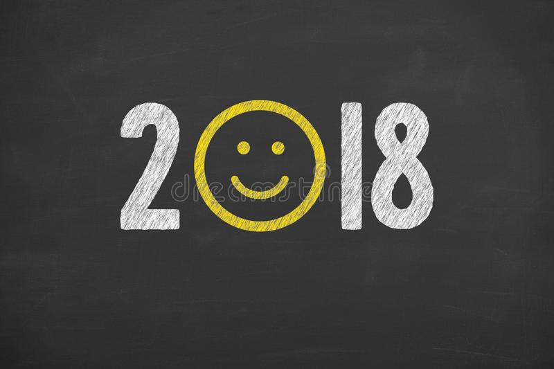 Happy New Year 2018 on Blackboard royalty free stock photography