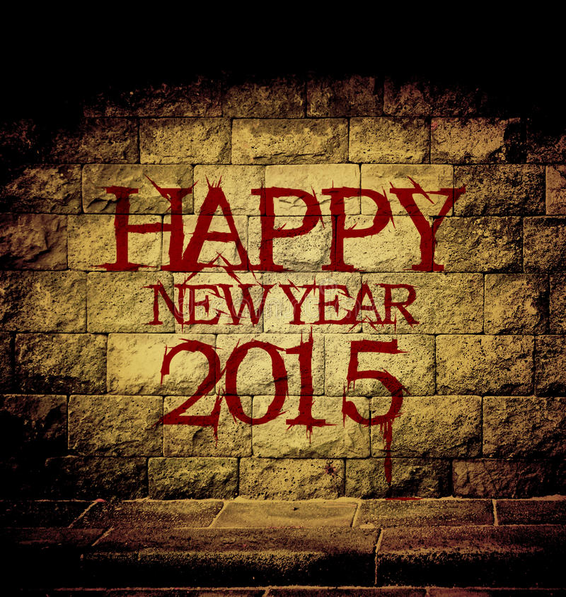Happy new year 2015. Blood text at the brick wall with dim light stock illustration