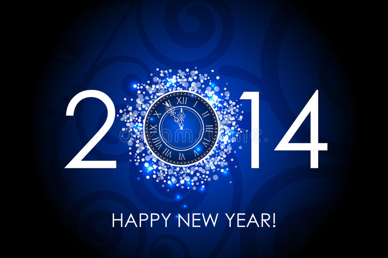 2014 Happy New Year blue background with clock vector illustration