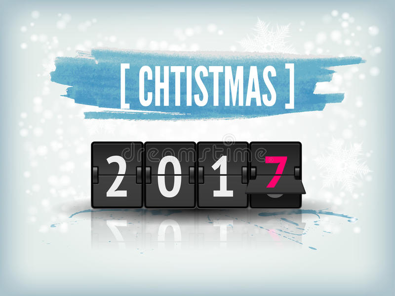 Happy New Year blue background with snowflakes and scoreboard. Vector Illustration Holiday with snowflakes background and 2017 numbers. Happy New Year abstract stock illustration