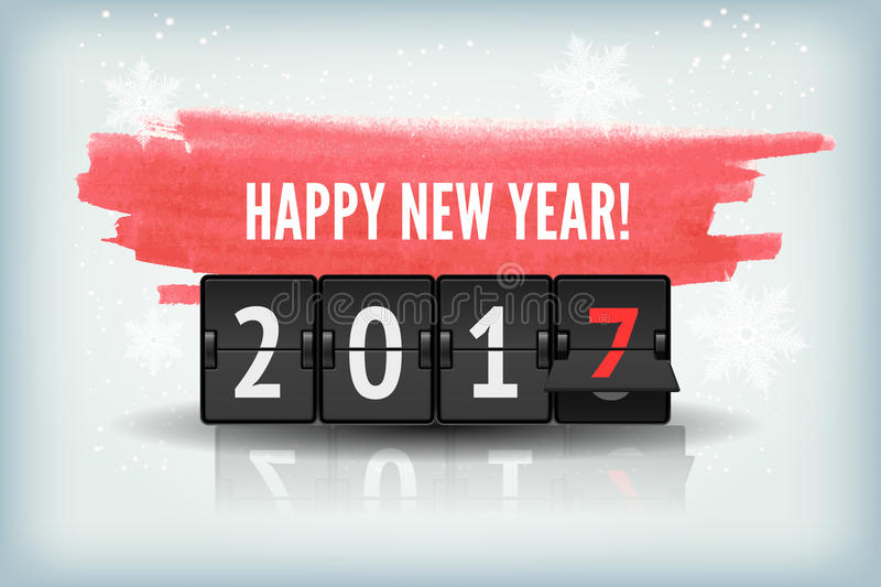Happy New Year blue background with snowflakesand scoreboard. Holiday abstract blue winter snow background texture with analog scoreboard and red watercolor vector illustration